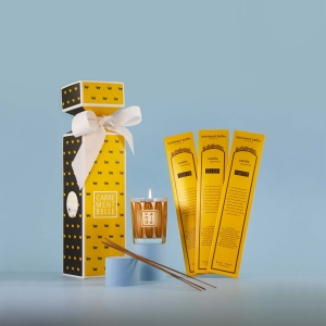 Home perfumes set with candle and incense