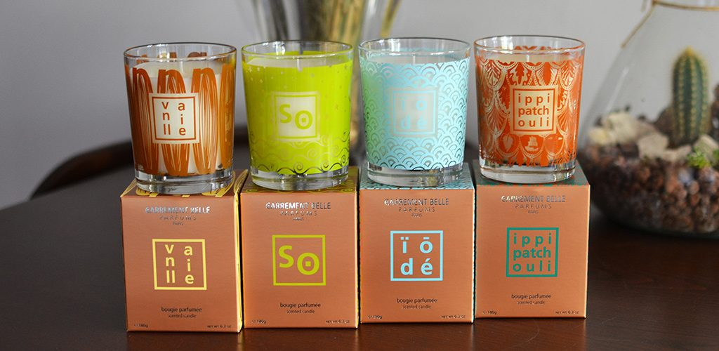 The new designs of the glass jars and the cases of the Carrément Belle scented candles
