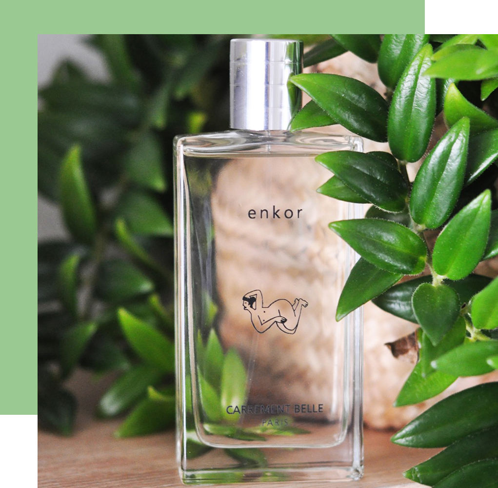 enkor is an invigorating eau de parfum with green and citrus scents